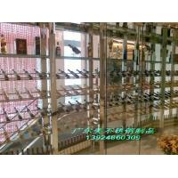 经典不锈钢酒柜工程酒柜 L型不锈钢弧型酒柜