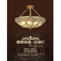 欧式全铜半吊灯 卧室客厅全铜吊灯 美式乡村全铜玻璃焊锡灯半吊