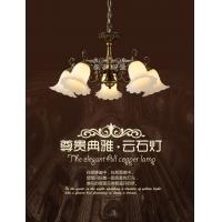 新款仿云石餐吊灯 欧式田园全铜吊灯 卧室书房餐厅灯饰灯具包安