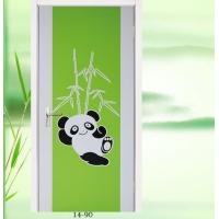 2014新款淼淼实木复合室内套装门熊猫图案烤漆门白漆平板门