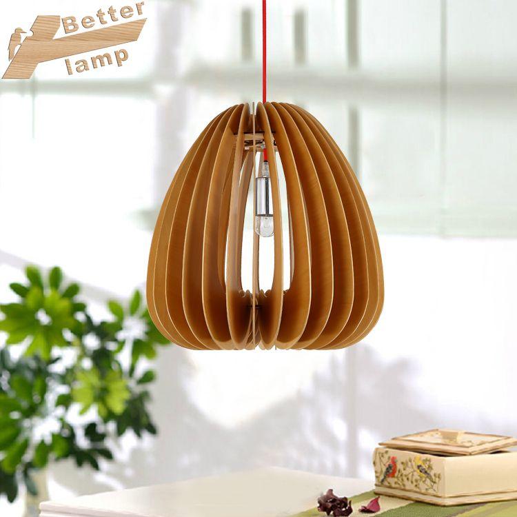 后现代简约创意吊灯 卧室餐厅书房LED灯 个性主题木艺吊灯