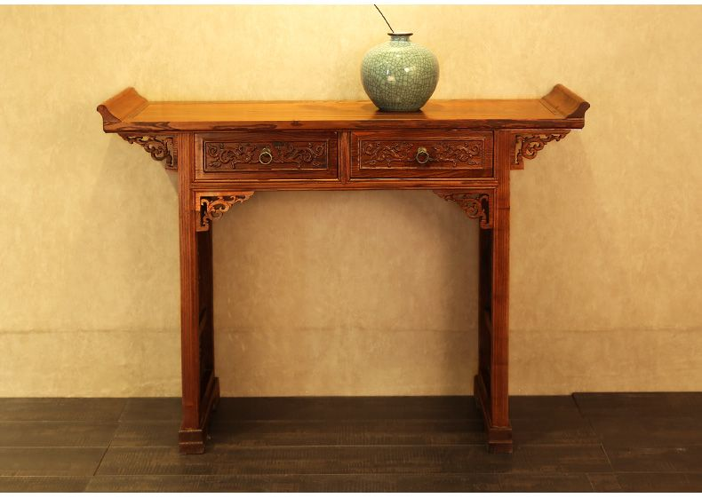 明清仿古家具 五斗桌中式供台香案佛台(雕花两抽供桌)