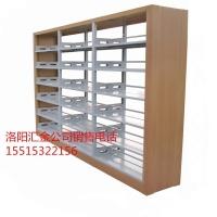 汇金木护板双柱双面书架