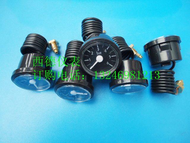 37MM黑色塑壳0~6BAR带毛细管蒸汽水压表,毛细管水压表