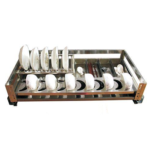 威尔特新款不锈钢板式阻尼拉篮系列不锈钢板板式三边碗架