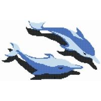 泳池拼图玻璃马赛克-海豚拼图