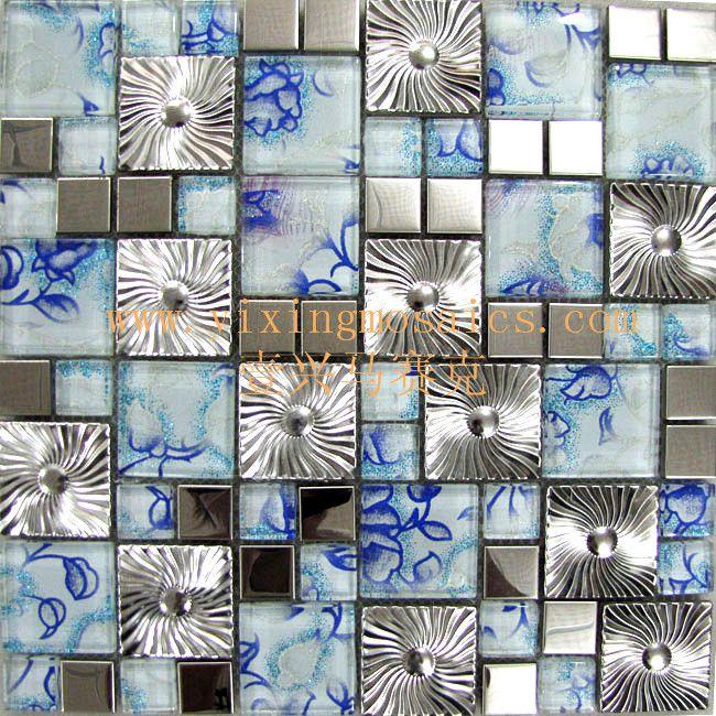 优质不锈钢金属马赛克混拼玻璃马赛克-蓝风