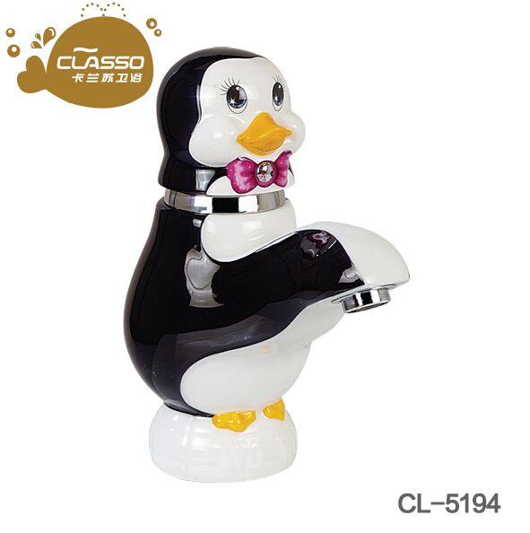 洗手盆卡通企鹅水龙头冷热洗脸盆幼儿园水龙头洗脸盆全铜儿童龙头