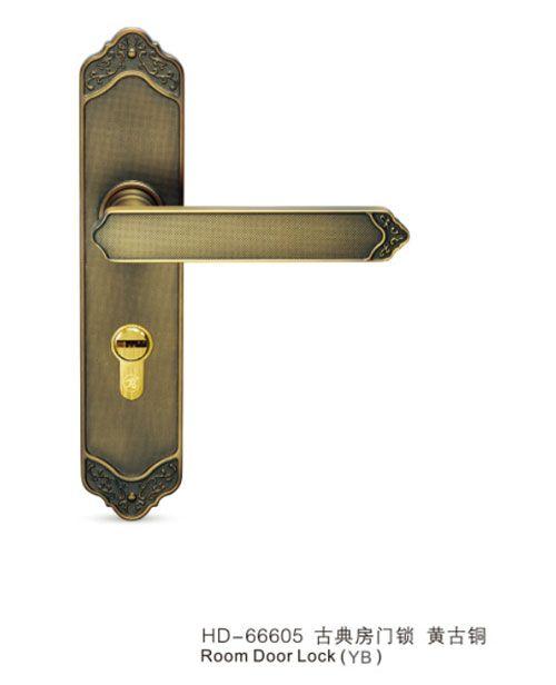 HD-66605-古典房门锁-黄古铜