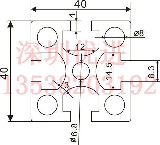 4040图纸工业铝型材铝型材工作台流水线国标cad设置怎么型材大小中图片