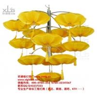 酒店餐厅宴会厅过道工程吊灯中国风古典海洋布艺伞灯