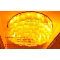 大堂灯牡丹花造型仿云石吸顶灯中式酒店非标灯具订制