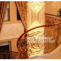 纯铜雕刻镂空螺旋楼梯扶手  别墅农庄全铜楼梯