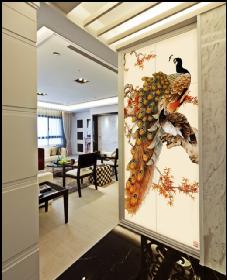 客厅沙发背景墙-万花凤凰