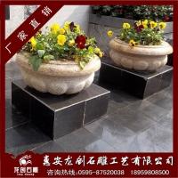 石雕花钵 户外景观花盘 芝麻白花卉盘景