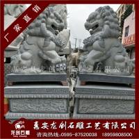 现货石狮子 654芝麻黑总高2.5米 花岗岩北京狮