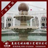 枫叶红风水球 黄锈石喷泉风水球 户外喷水池