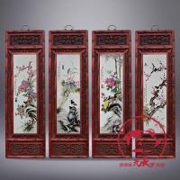 景德镇陶瓷瓷板画名家手绘粉彩四条屏