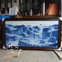 青花瓷瓷板画图片 酒店装饰挂画