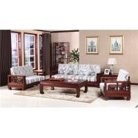 杭州木言木语实木环保家具,中式608富贵红沙发实木雕刻