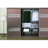 现代风格移门衣柜系列 皮革加欧式腰线移门衣柜二