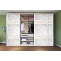 现代风格移门衣柜系列 木塑板加皮革移门衣柜