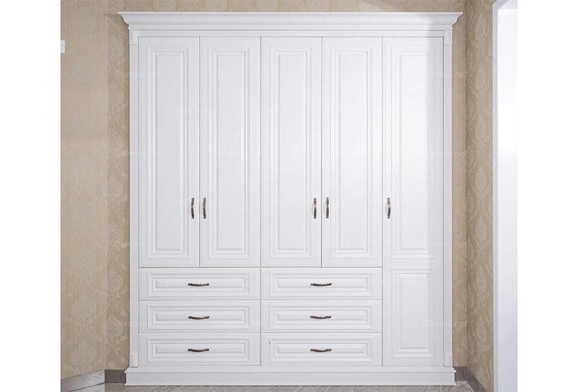 简欧风格白色高雅平开门衣柜定制