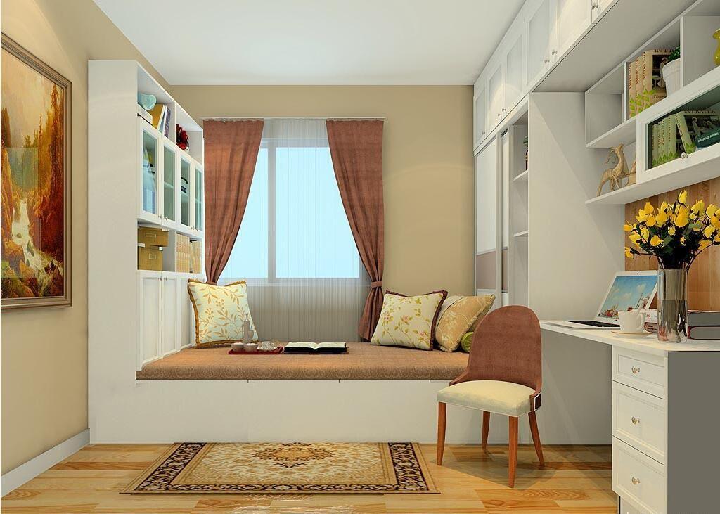 一个房间放置两个榻榻米   加上 衣柜,书柜,飘窗柜等丰富柜体定制图片