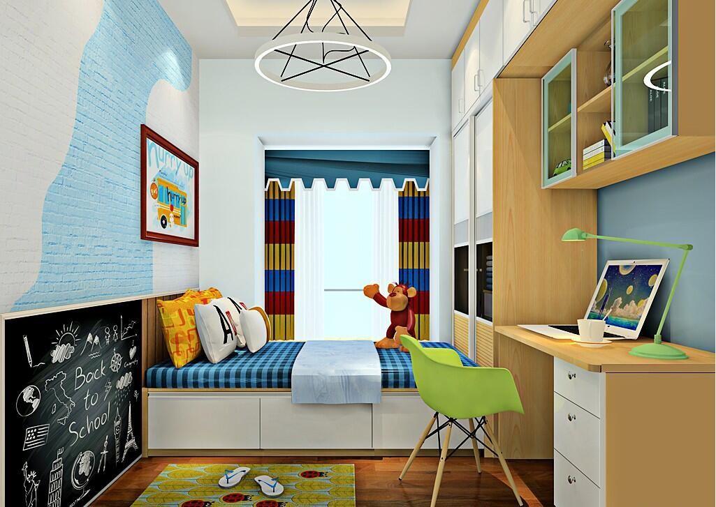 榻榻米是儿童房不可错过的设计: 床尾承接衣柜,并以此延伸书桌