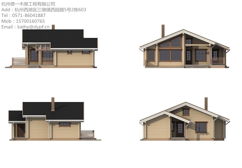 型号:DY-D-165 类型:木屋别墅 材料:樟子松/云杉 墙体厚度:50mm/70mm/105mm 顶板和地板厚度:18mm/21mm 面积:80平方米 欧美、北美、日本绝大部分建筑是木打造的建筑。日本的专家们一致认为:人居住的房屋以木造最佳,只要利用现代的科技,建筑新型木屋有望延年益寿。 木结构房屋的优点 抗震性 木结构别墅在地震中有很好的生命安全性能,木结构别墅采用榫接建造,主结构交错连接,具有很好的稳定性。在日本1995年的神户大地震中,保留下来的房屋大部分是木结构的房屋。    耐久性 木结构别