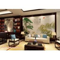 彩虹石品牌中式山水画客厅沙发背景墙大型瓷砖壁画