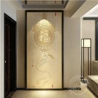彩虹石品牌玄关瓷砖背景墙 福临门