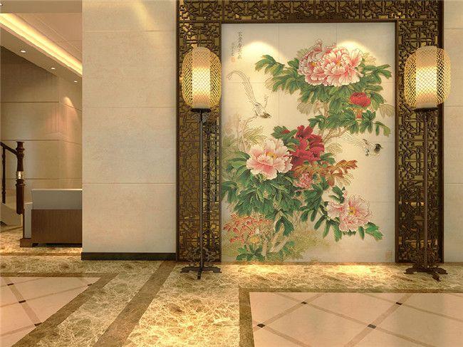 彩虹石品牌玄关背景墙迎门墙瓷砖雕刻画图片