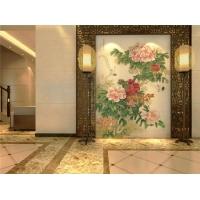彩虹石品牌玄关背景墙迎门墙瓷砖雕刻画