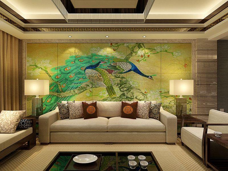 彩虹石品牌中式山水画客厅沙发背景墙大型瓷砖壁画图片