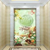 仿玉石背景墙瓷砖玄关画招财进宝效果图图片