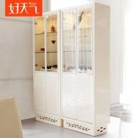 好天气家具 现代简约橄榄叶酒柜 时尚米色烤漆酒柜