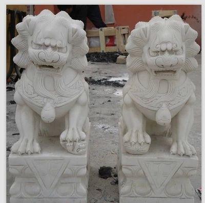 墓地石狮子,风水小石狮子图片