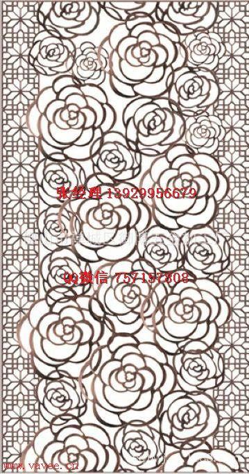 镜面拉丝玫瑰金屏风 镂空组合花格隔断