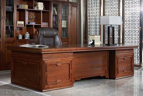 佳诚纯实木办公家具,中式如意系列纯实木,大班桌