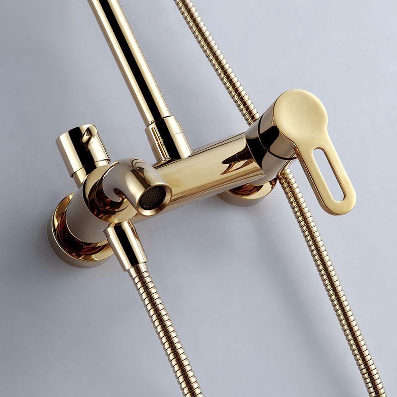 供全铜欧式金色浴室淋浴花洒套装冷热水洗澡淋浴器图片
