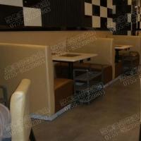 火锅餐厅两色皮革相接单面卡座,不锈钢包脚卡座