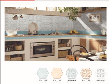 厨房卫生间六边形内墙砖 18x18小瓷砖墙砖背景墙