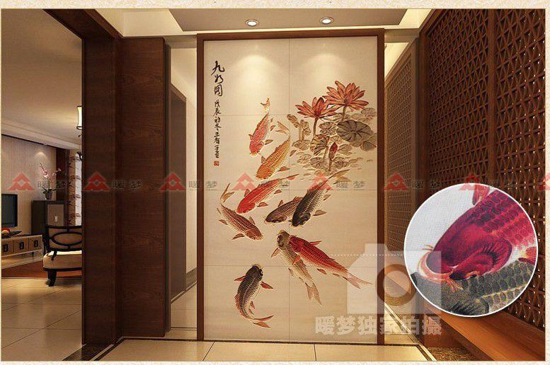 玄关九鱼图 中式风格陶瓷雕刻 玄关瓷砖背景墙 瓷砖壁画 [暖图片