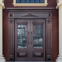 北京厂家纯铜门入户双开铜门玻璃铜门金属门YYH-56