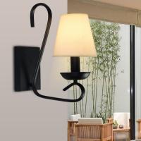 现代中式风格壁灯 2018新款 铁艺+布艺灯罩中式壁灯【灯迷