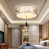 新中式风格吸顶灯 2018新款 卧室布艺中式吸顶灯【灯迷汇】