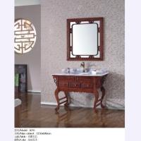 添丽卫浴 新款浴室柜 仿真玉石台面+仿古红木