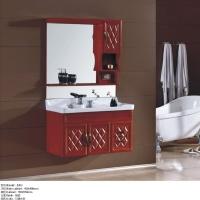 添丽卫浴 新款浴室柜 陶瓷台面+红橡木色