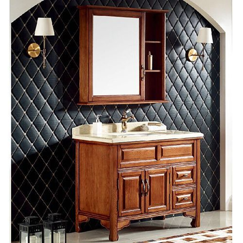 添丽卫浴 新款浴室柜 陶瓷台面 金丝缎